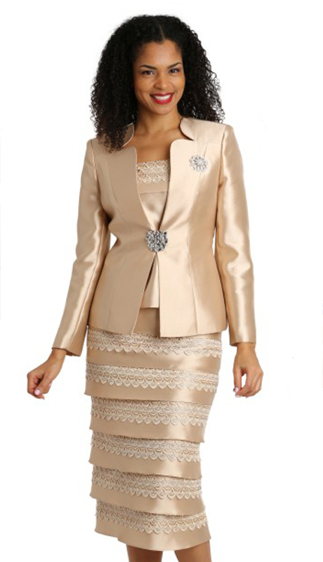 Diana Couture 8139-CH ( 3pc Silk Womens Sunday Suit With Brooch )