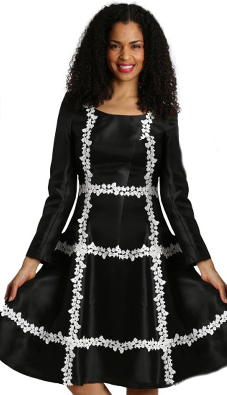 Diana Couture 8284-BW ( 1pc Silk First Ladies Dress )