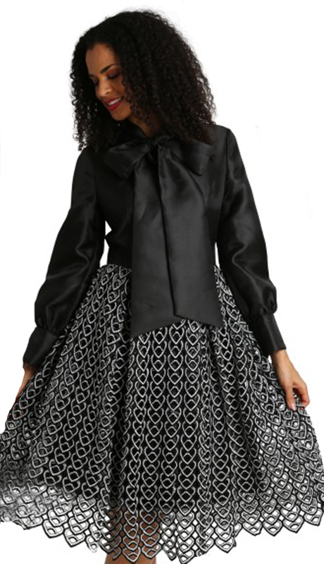 Diana Couture 8285-BW ( 1pc Silk Womens Church Dress )