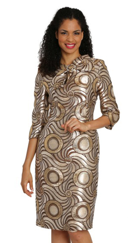 Diana Couture 8128-BG ( 1pc Metallic Brocade Ladies Dress For Church )
