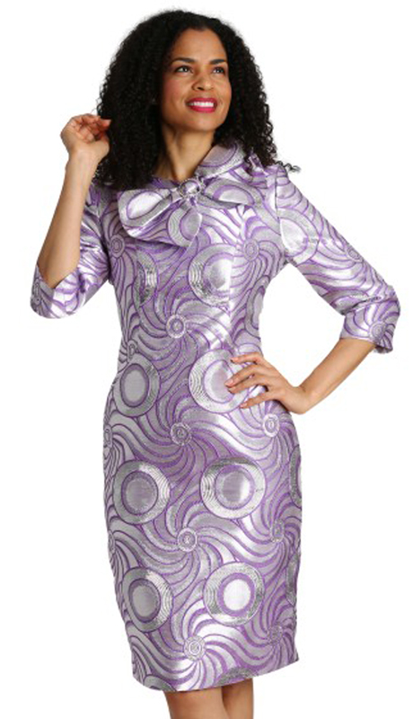 Diana Couture 8128-LA ( 1pc Metallic Brocade Dress For Sunday )