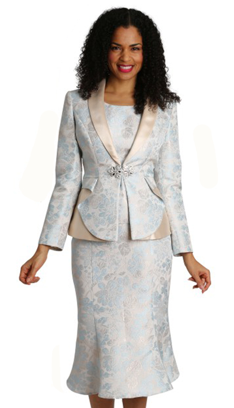 Diana Couture 8273-LB ( 3pc Brocade Womens First Lady Suit )