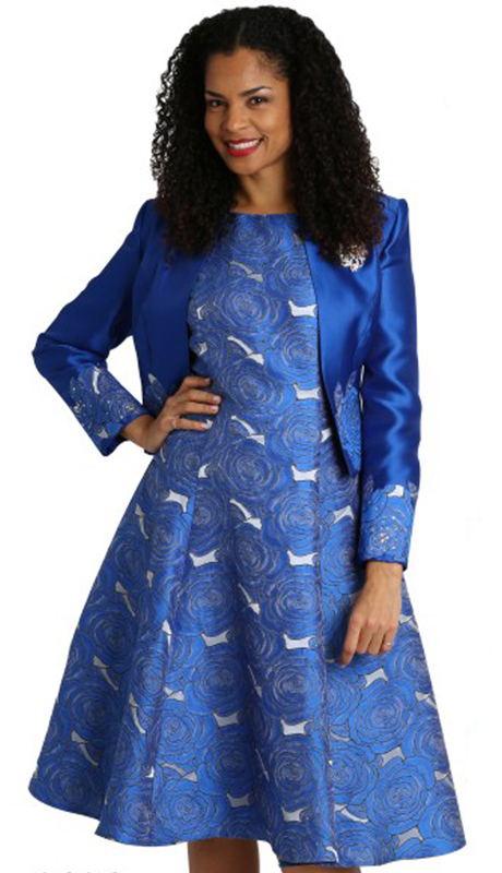 Diana Couture 8124-RO ( 2pc Silk First Lady Dress With Brooch )