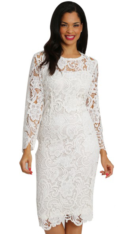 Diana Couture 7069-WH ( 1pc Lace First Lady Dress )