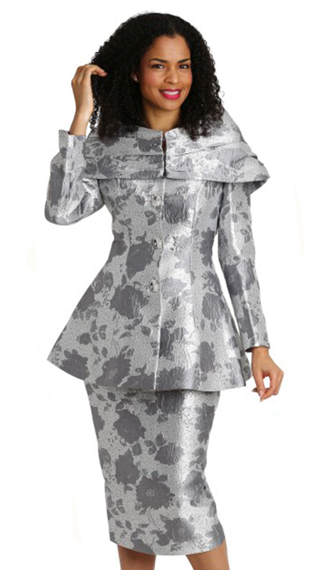 Diana Couture 8207-GR ( 2pc Brocade Ladies Church Suit )