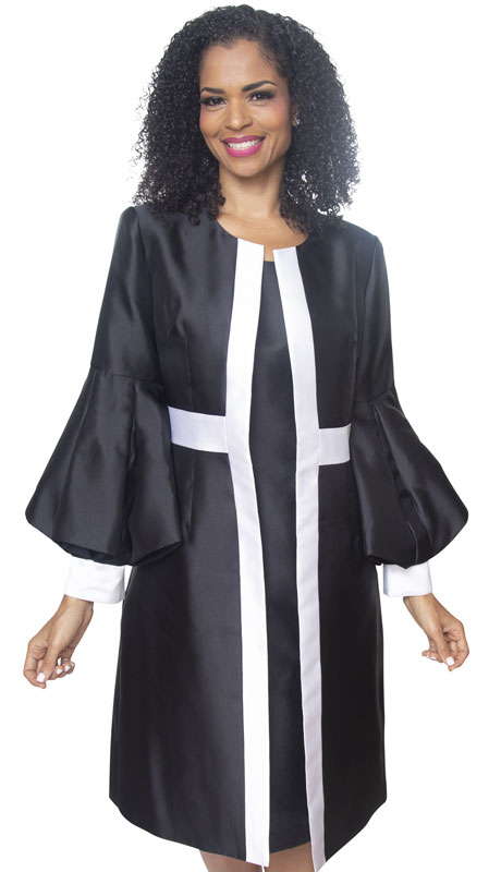 Diana Couture 8520-BW ( 2 Pc Silk Women Sunday Robe For Church )