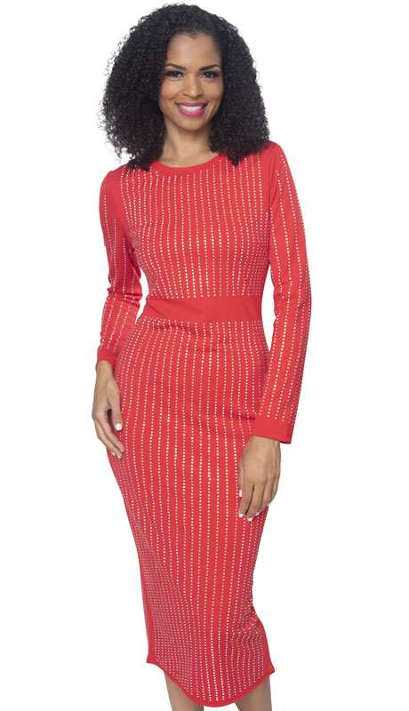 Diana Couture 8303-RE ( 1pc Ladies Knit Church Dress )