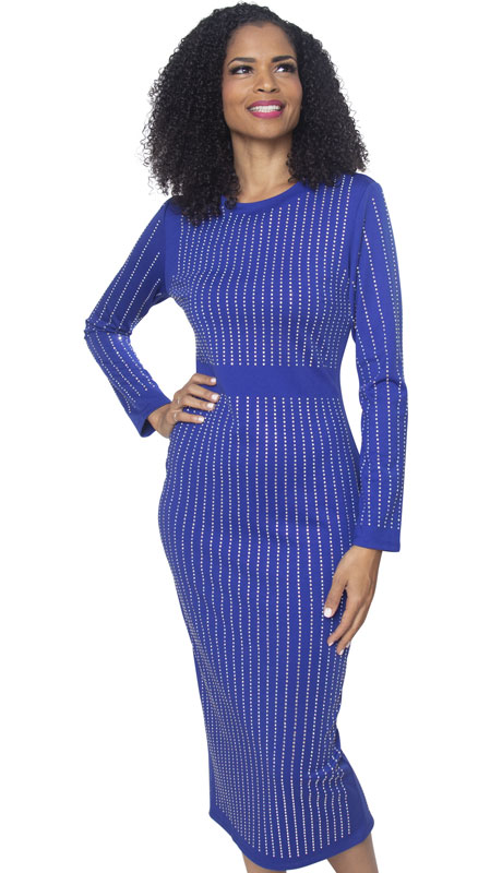 Diana Couture 8303-RO ( 1pc Ladies Knit Church Dress )