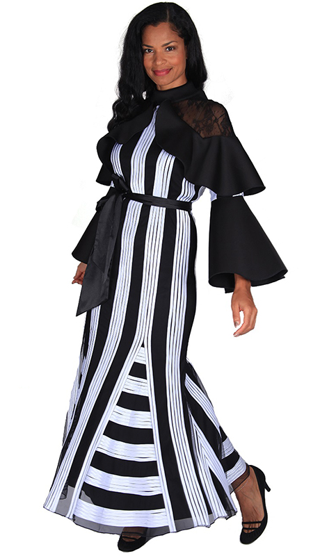 Diana Couture 8596 ( 1pc Novelty Women Sunday Dress With Modern Stripe Design And Solid Sash )