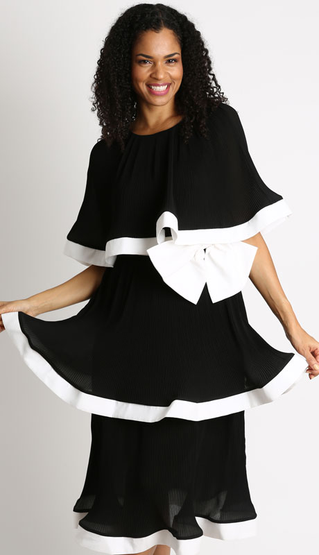 Diana Couture D1028-BW ( 1pc Novelty Ladies Church Dress )