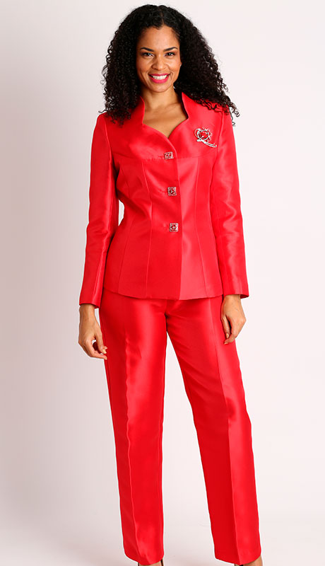 Diana Couture 8428-RE ( 2pc Silk Sunday Church Pant Suit )