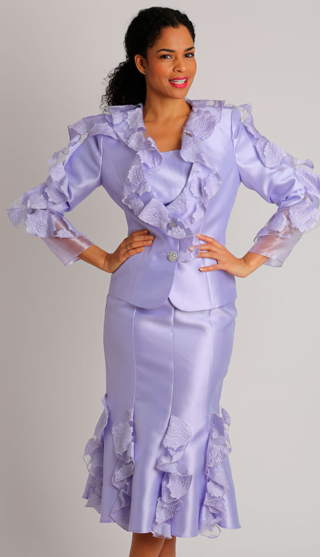 Diana Couture 8429-LA ( 3pc Silk With Lace Ladies Church Suit )
