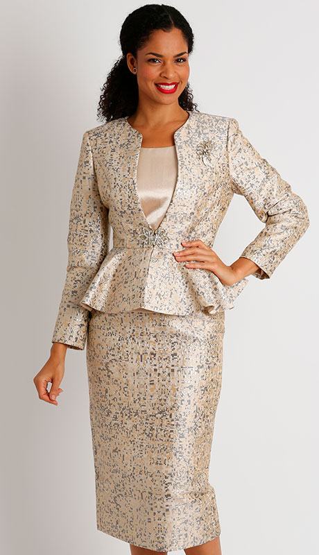 Dianna Couture 8431-CH ( 3pc Brocade Ladies Church Suit )