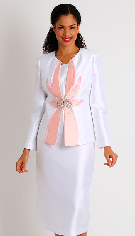 Diana Couture 8436-WH ( 3pc Womans Silk Sunday Church Suit )