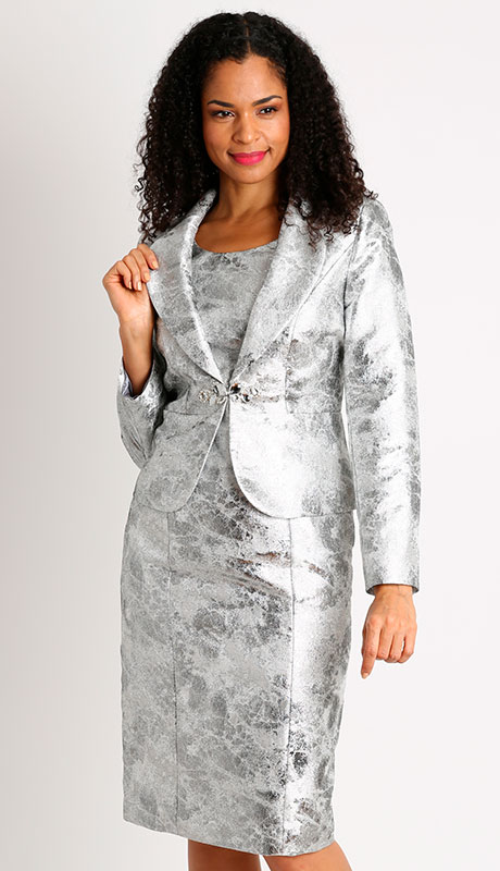 Dianna Couture 8440-SI ( 2pc Metallic Jacket Church Dress )