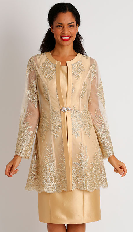 Diana Couture 8445-CH ( 2pc Silk Sunday Jacket Dress With Sequins )