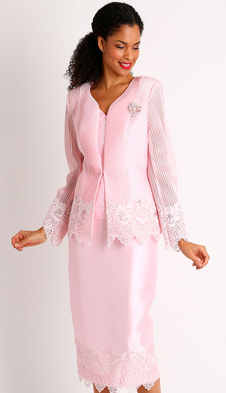Dianna Couture 8400-PI ( 3pc Novelty With Lace First Lady Suit )