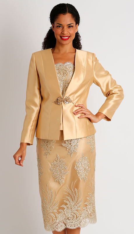 Diana Couture 8448-GO ( 3pc Womans Silk Sunday Suit With Lace )