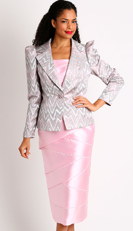 Dianna Couture 8449-PI ( 3pc Silk With Brocade Womans Church Suit )