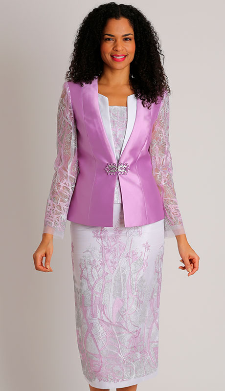 Diana Couture 8455-LA ( 3pc Silk Womens Sunday Suit With Lace )