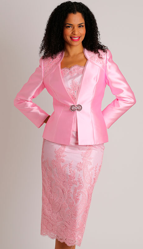 Dianna Couture 8457-PI ( 3pc Silk Ladies Suit With Lace for Church )
