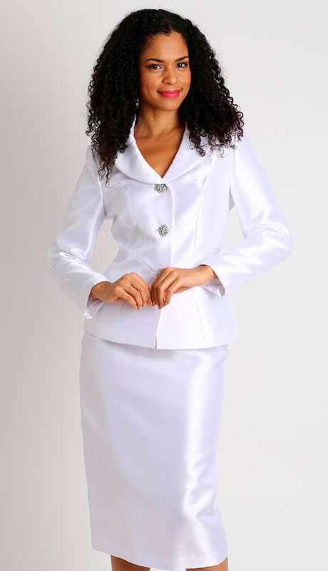 Diana Couture 8458-WH ( 2pc Silk Ladies Church Suit )