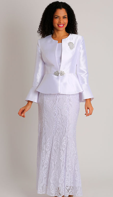 Dianna Couture 8500-WH ( 3pc Silk With Lace Sunday Suit )