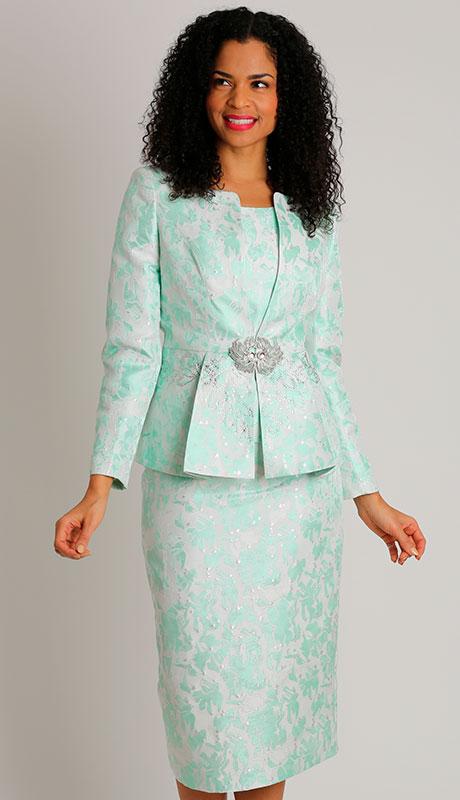 Dianna Couture 8501-MI ( 3pc Brocade Womans Sunday Suit )