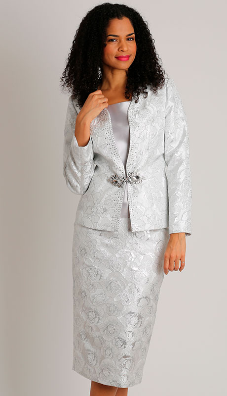 Dianna Couture 8506-SI ( 3pc Metallic Womans Suit For Sunday )