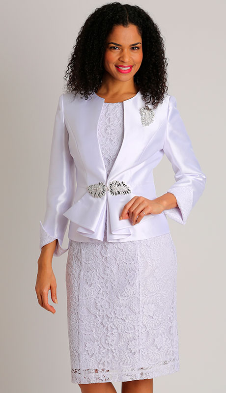 Dianna Couture 8507-WH ( 2pc Silk Ladies Jacket Church Dress With Lace )