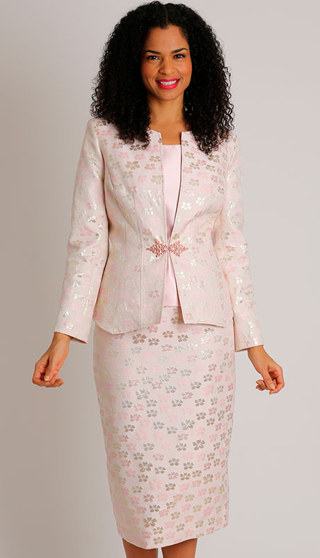 Dianna Couture 8508-PI ( 3pc Ladies Sunday Suit With Brocade )
