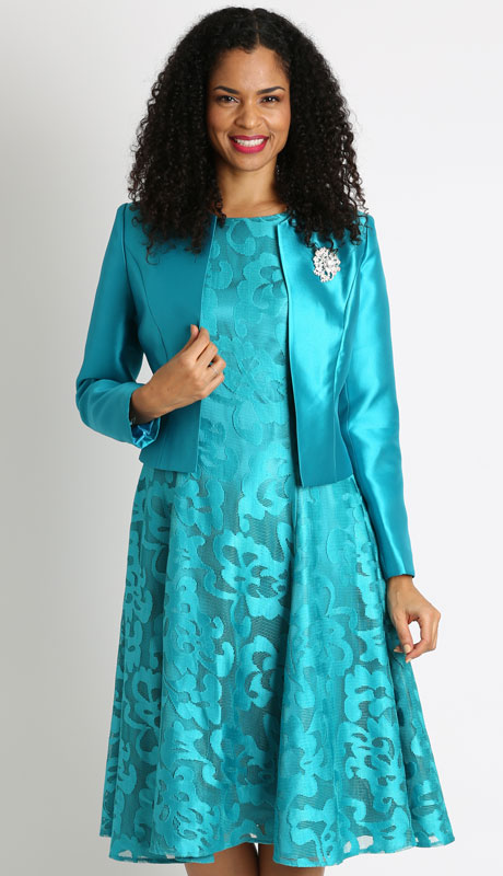 Diana Couture 8138-JA ( 2pc Womans Church Dress With Silk Jacket )