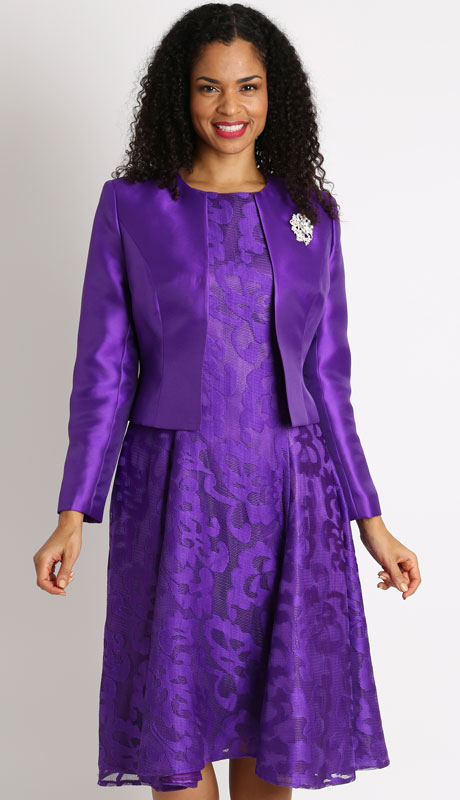 Diana Couture 8138-PU ( 2pc Ladies Silk Suit For Sunday )