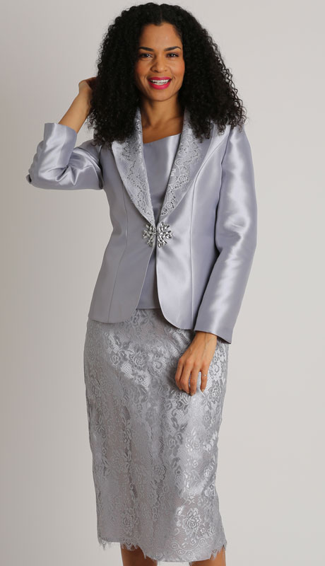 Dianna Couture 8504-SI ( 3pc Ladies Silk Sunday Suit With Lace )