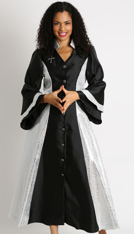 Diana Couture 8147-BW ( 1Pc Silk Women Sunday Robe For Church )