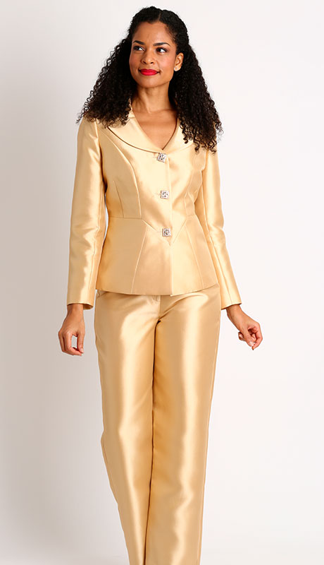 Diana Couture 8427-GO ( 2pc Silk Ladies Sunday Pant Suit )