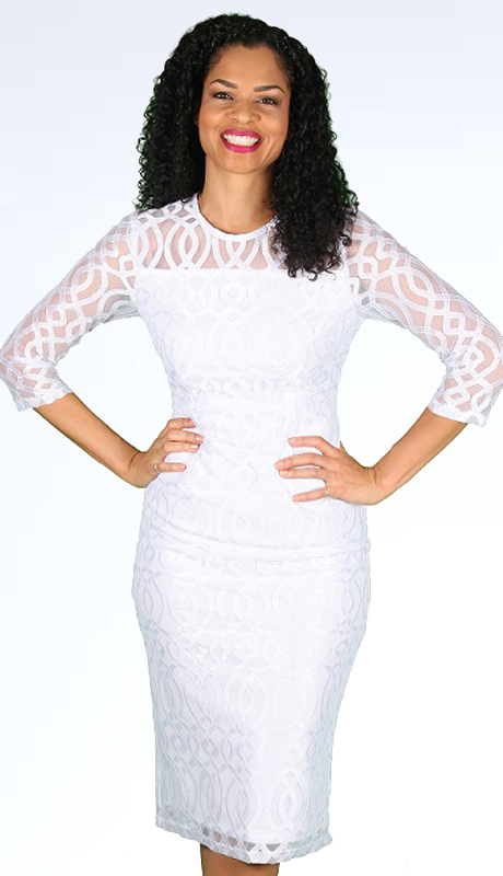 Diana Couture 8560 ( 1pc Novelty Ladies Church Dress With Beautiful Geometric Lace Pattern Overlay )