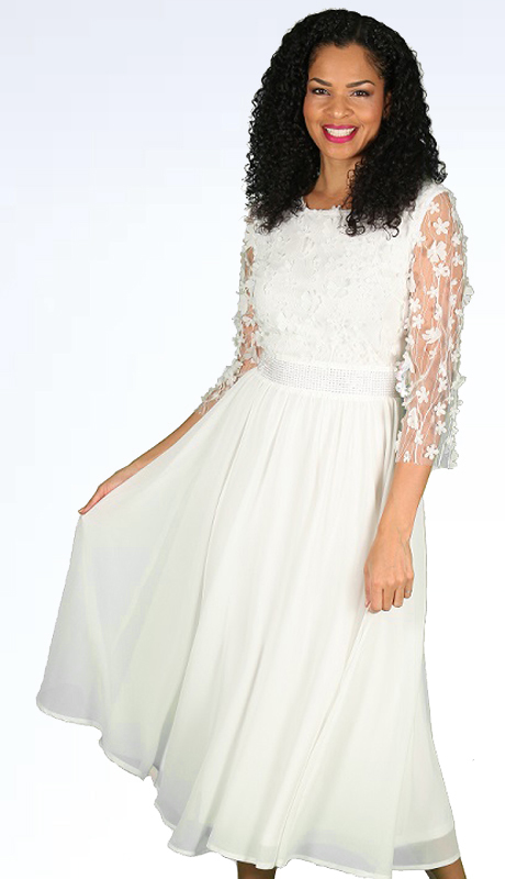 Diana Couture 8561 ( 1pc Novelty With Organza Womens Sunday Dress With Beautiful Natural Lace Pattern )