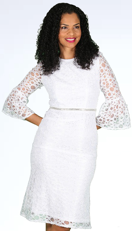 Diana Couture 8562 ( 1pc Novelty Womens Dress For Church With Lace Like Circle Design Overlay )