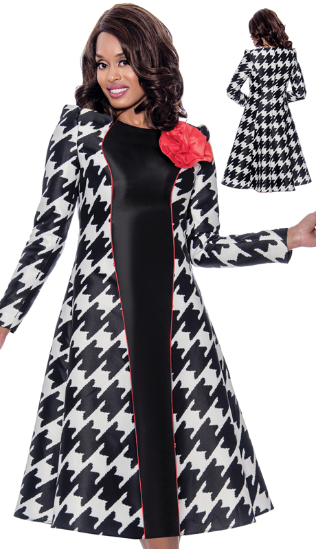 Nubiano 2301 ( 2pc Novelty Womens Jacket Dress For Church With Beautiful Houndstooth Pattern And Detachable Ornate Detail )