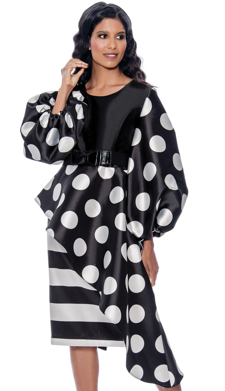 Nubiano 2521-BW ( 1pc Silk Look Womens Dress For Church With Polka Dots And Puff Sleeves )