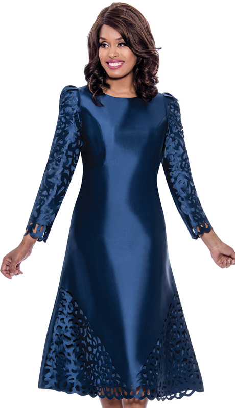 Nubiano 2191 ( 1pc Silk Look First Ladies Dress For Church With Elegant Cut Out Patterning )