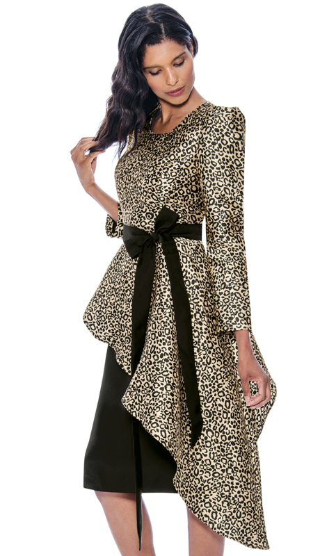 Nubiano 2181 ( 2pc Silk Look Dress For Church Dress With Waist Clasp And Animal Printed Cascading Top )