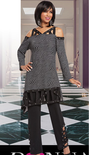 Donna By Donna Vinci 18149 ( 2pc Novelty Knit Ladies Pant Suit With Silver Grommets On Tunic )
