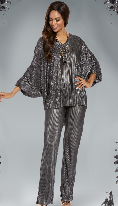 Donna By Donna Vinci 18159 ( 2pc Metallic  Novelty Knit Ladies Pant Set With Dolman Sleeve V-Neck Tunic And Accordian Pleated Pant )