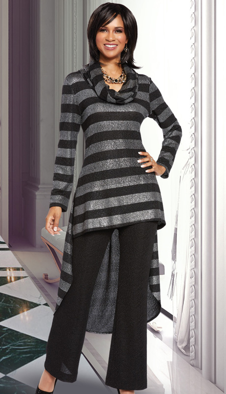 Donna By Donna Vinci 18133 ( 2pc Novelty Knit Womens Pant Set With Stripe Silver Lurex Fabric, High-Low Tunic With Cowl Neck And Solid Pant )