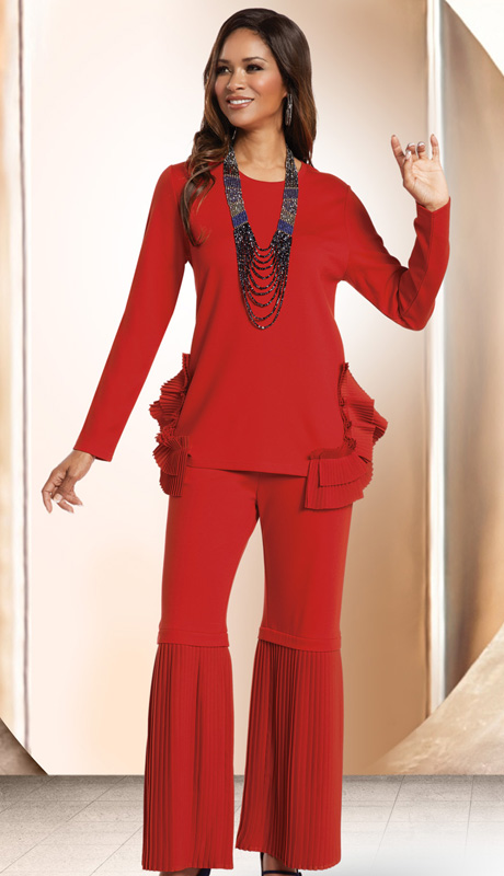Donna By Donna Vinci 18157 ( 2pc Novelty Knit Womans Pant Set With Ruffled And Pleated Trims On Tunic And Pant )