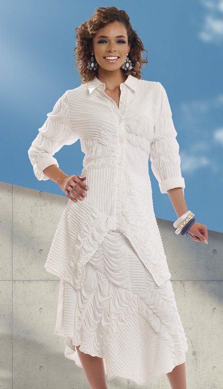 Donna By Donna Vinci 18109 ( 2pc Novelty Knit Ladies Suit With Ruffled Inset Pleats And Handkerchief Hem, Buttoned Tunic And Skirt )