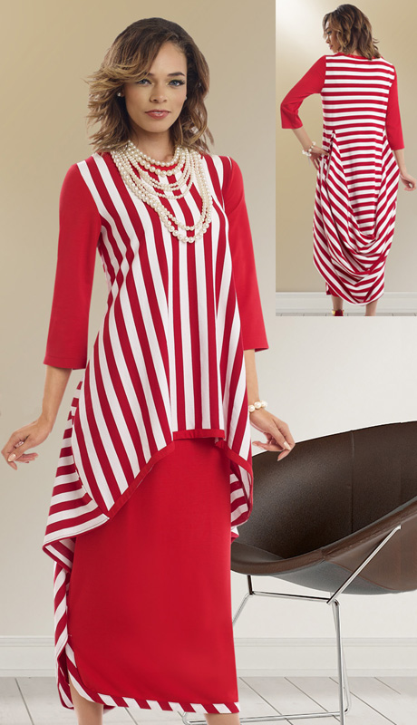 Donna By Donna Vinci 18103 ( 2pc Novelty Knit Womens Suit With Striped High Low Tunic  And Draping In Back With Skirt )