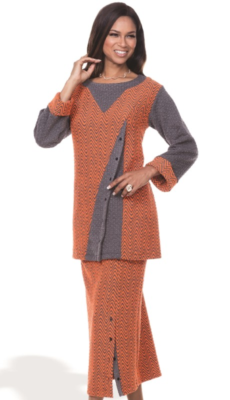 Donna By Donna Vinci 18091-OG ( 2pc Novelty Knit With Jacquard Donna By Donna Vinci Tunic And Pant Set )